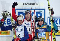 FIS World Cup Nordic Combined,  Trondheim Norway, 6 Dec 2008,<br /> Norway Only, <br /> Winner Magnus Moan NOR, no two Chfappuis Jason Lamy FRA, no three Anssi Koivuranta FIN,<br /> wINNER<br /> Foto: Carl-Erik Eriksson, Digitalsport
