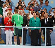 Germany's Manuel Neuer shakes hands with German Chancellor Angela Merkel as FIFA President Sepp Blatter and Brazilain President Dilma Rousseff look on during the 2014 FIFA World Cup Final match at Maracana Stadium, Rio de Janeiro<br /> Picture by Andrew Tobin/Focus Images Ltd +44 7710 761829<br /> 13/07/2014
