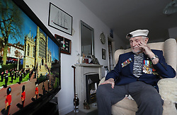 World War II veteran Malcolm Clerc, 94, watches the funeral of the Duke of Edinburgh, on the television at his home in Knutsford, Cheshire. Malcolm joined the Royal Navy aged 15, served as a petty officer stationed in Guam and met the Duke of Edinburgh on several occasions. Picture date: Saturday April 17, 2021.