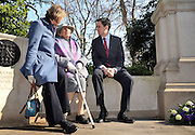 London News pictures. 08/03/11. 105-year-old former suffragette Hetty Bower (C) meets Labour Leader Ed Miliband (R) and Shadow Home Secretary Yvette Cooper (L) at the statue of Emmeline Pankhurst to mark International Women's Day. She was  joined by Labour Leader Ed Miliband, Labour Deputy Leader Harriet Harman, and shadow home secretary Yvette Cooper. Emmeline  at the Pankhurst statue at Victoria Tower Gardens, Parliament Square, Westminster, London, Picture Credit should read Stephen Simpson/LNP
