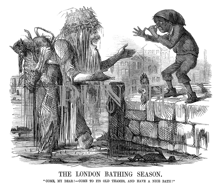 """The London Bathing Season. """"Come, my dear! Come to its old Thames, and have a nice bath!"""" (Father Thames invites a poor boy to clean up in the dirty Thames river which is full of dead animals)"""