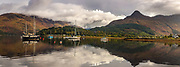Fort William, autumn panorama of boats anchored in loch, The Highlands, Scotland
