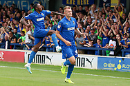 AFC Wimbledon striker Joe Pigott (39) celebrating after scoring goal during the EFL Sky Bet League 1 match between AFC Wimbledon and Rotherham United at the Cherry Red Records Stadium, Kingston, England on 3 August 2019.
