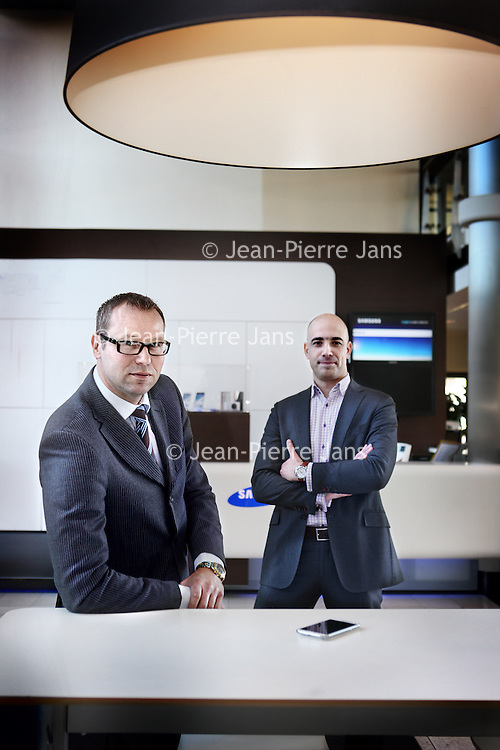 Nederland, Delft , 28 maart 2013.<br /> Erik Swart en Ben Rodrigo werkzaam bij Samsung in Delft.<br /> Foto:Jean-Pierre Jans
