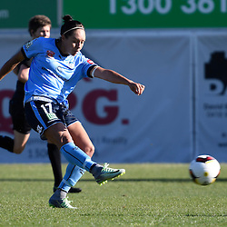 BRISBANE, AUSTRALIA - OCTOBER 30: Kyah Simon of Sydney shoots on goal during the round 1 Westfield W-League match between the Brisbane Roar and Sydney FC at Spencer Park on November 5, 2016 in Brisbane, Australia. (Photo by Patrick Kearney/Brisbane Roar)