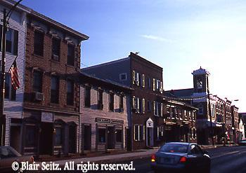Main Street, Mechanicsburg, PA, Cumberland Co., Evening Light, Historic Buildings
