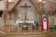 The alter at the Church of the Divine Providence, where the Martyr Archbishop Oscar Romero was shot and killed in 1980.  El Salvador prepares for the beatification ceremony and mass announcing the beatification of Archbishop Oscar Romero. The Archbishop was slain at the alter of his Church of the Divine Providence by a right wing gunman in 1980. Oscar Arnulfo Romero y Galdamez became the fourth Archbishop of San Salvador, succeeding Luis Chavez, and spoke out against poverty, social injustice, assassinations and torture. Romero was assassinated while offering Mass on March 24, 1980.