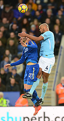 Vicente Iborra of Leicester City battles for the ball with Vincent Kompany of Manchester City - Mandatory by-line: Alex James/JMP - 18/11/2017 - FOOTBALL - King Power Stadium - Leicester, England - Leicester City v Manchester City - Premier League