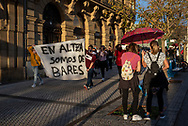 """Protesters take part in a demonstration called by the hospitality sector to demand aid from the institutions that allow them to cope with the closure decreed due to the restrictions derived from the covid-19. Donostia (Basque Country). November 7, 2020. Thousands of people supported the demonstration and walked through several central streets of the city. The protest took place amid applause from the protesters, who chanted slogans such as """"No taxes without income"""", """"We are workers, not evildoers"""" and """"If you close, you pay"""". (Gari Garaialde / Bostok Photo)"""