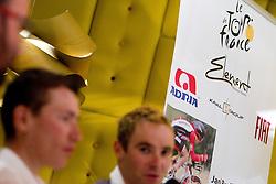 Slovenian riders Jani Brajkovic of Team RadioShack and Borut Bozic of Vacansoleil at press conference before cycling race Tour de France 2011, on June 27, 2011, in Crnuce, Ljubljana, Slovenia. (Photo by Vid Ponikvar / Sportida)