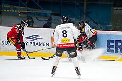 02.01.2016, Ice Rink, Znojmo, CZE, EBEL, HC Orli Znojmo vs Dornbirner Eishockey Club, 39. Runde, im Bild v.l. Corey Trivino (HC Orli Znojmo) Marek Zagrapan (Dornbirner) Martin Podesva (HC Orli Znojmo) Michael Caruso (Dornbirner) // during the Erste Bank Icehockey League 39nd round match between HC Orli Znojmo and Dornbirner Eishockey Club at the Ice Rink in Znojmo, Czech Republic on 2016/01/02. EXPA Pictures © 2016, PhotoCredit: EXPA/ Rostislav Pfeffer