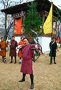 Archers at archery festival, Paro, Bhutan