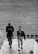Portrait of Anton Corbijn and David Gahan of Depeche Mode, photographed at Pasadena Rose Bowl, June 1988.
