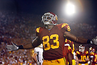 1 September 2007: #83 Fred Davis celebrates after a touchdown drive at USC Trojans college football team defeated the Idaho Vandals 38-10 at the Los Angeles Memorial Coliseum in CA.  NCAA Pac-10 #1 ranked team first game of the season.