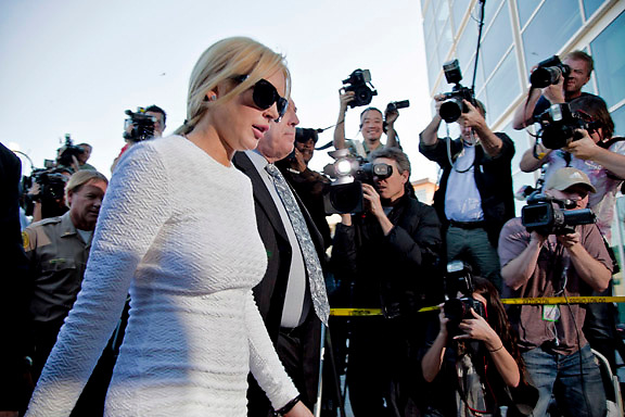 Lindsay Lohan arriving to the Airport Branch Courthouse in L.A...She was charged with a felony count of grand theft for allegedly stealing a $2,500 necklace from a jewelry store in Venice, CA.