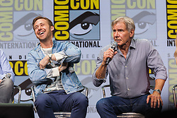 July 22, 2017 - San Diego, US - Day three in Hall H. .Blade Runner 2049, Alcon Entertainment's sequel to the cult classic, which takes us 30 more years into the future, with stars Ryan Gosling and Harrison Ford as well as Ana de Armas, Sylvia Hoeks, Robin Wright, Lennie James, and Mackenzie Davis, writers Hampton Fancher and Michael Green, and the film's director, Denis Villeneuve.Seen here: Ryan Gosling and Harrison Ford (Credit Image: © Daren Fentiman via ZUMA Wire)