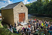 Investors and locals attend the official opening of, Halton Lune Hydro,  Halton, Lancashire on the 18th of September 2015.The biggest community owned hydro in England. Hydro power has been used at this location since 1252 AD