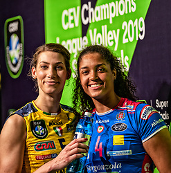 18-05-2019 GER: CEV CL Super Finals Igor Gorgonzola Novara - Imoco Volley Conegliano, Berlin<br /> Igor Gorgonzola Novara take women's title! Novara win 3-1 /   Robin de Kruijf #5 of Imoco Volley Conegliano, Celeste Plak #4 of Igor Gorgonzola Novara in the mixed zone