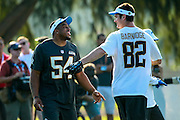 January 28 2016: Seattle Seahawks linebacker Bobby Wagner and Cleveland Browns tight end Gary Barnidge joke around during the Pro Bowl practice at Turtle Bay Resort on North Shore Oahu, HI. (Photo by Aric Becker/Icon Sportswire)