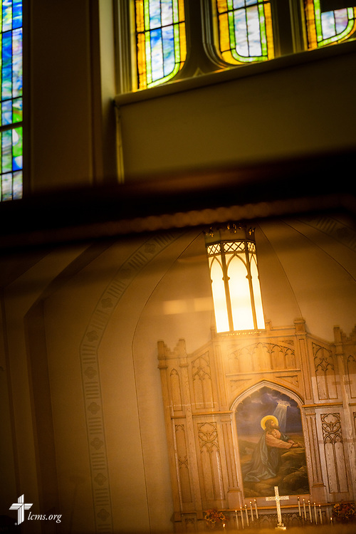The altar seen from the organist's perspective at Gethsemane Lutheran Church on Tuesday, July 28, 2020, in St. Louis.  LCMS Communications/Erik M. Lunsford