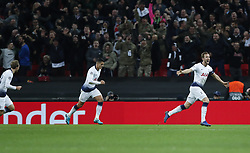 BRITAIN-LONDON-FOOTBALL-CHAPIONS LEAGUE-HOTSPUR VS EINDHOVEN.(181106) -- LONDON, Nov. 6, 2018  Tottenham Hotspur's Harry Kane (R) celebrates after scoring the winning goal during the UEFA Champions League match between Tottenham Hotspur and PSV Eindhoven in London, Britain on Nov. 6, 2018. Tottenham Hotspur won 2-1.  FOR EDITORIAL USE ONLY. NOT FOR SALE FOR MARKETING OR ADVERTISING CAMPAIGNS. NO USE WITH UNAUTHORIZED AUDIO, VIDEO, DATA, FIXTURE LISTS, CLUBLEAGUE LOGOS OR ''LIVE'' SERVICES. ONLINE IN-MATCH USE LIMITED TO 45 IMAGES, NO VIDEO EMULATION. NO USE IN BETTING, GAMES OR SINGLE CLUBLEAGUEPLAYER PUBLICATIONS. (Credit Image: © Xinhua via ZUMA Wire)