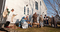 "The Gilford Community Church presented the Living Nativity scene Sunday afternoon outside the Thompson Ames Historical Society.  The Angel (Donna Fowler), Mary (Kathy Lacroix), Joseph (Jim Colby), Innkeeper (Peter Ayer),  oxen ""Chip"" and the Three Wise Men (George Hetherington, Leon Albushies and Carl Gebhardt).   (Karen Bobotas/for the Laconia Daily Sun)"