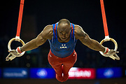 Donnell Whittenburg of the United States of America (USA) on the Rings on his way to a Silver Medal during the iPro Sport World Cup of Gymnastics 2017 at the O2 Arena, London, United Kingdom on 8 April 2017. Photo by Martin Cole.