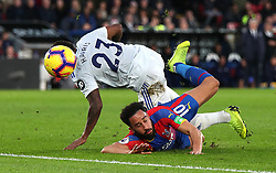 Cardiff City's Kadeem Harris (left) and Crystal Palace's Andros Townsend (right) battle for the ball during the Premier League match at Selhurst Park, London.