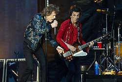 Mick Jagger and Ronnie Wood of The Rolling Stones perform on stage at Ricoh Arena on June 02, 2018 in Coventry, England. Picture date: Saturday 02 June, 2018. Photo credit: Katja Ogrin/ EMPICS Entertainment.