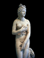 2nd century AD Roman marble sculpture of Aphrodite (Venus), 'Dresden Capitoline Type, copied from a Hellanistic Greek original,  inv 6238, Museum of Archaeology, Italy, black background ..<br /> <br /> If you prefer to buy from our ALAMY STOCK LIBRARY page at https://www.alamy.com/portfolio/paul-williams-funkystock/greco-roman-sculptures.html . Type -    Naples    - into LOWER SEARCH WITHIN GALLERY box - Refine search by adding a subject, place, background colour, etc.<br /> <br /> Visit our ROMAN WORLD PHOTO COLLECTIONS for more photos to download or buy as wall art prints https://funkystock.photoshelter.com/gallery-collection/The-Romans-Art-Artefacts-Antiquities-Historic-Sites-Pictures-Images/C0000r2uLJJo9_s0