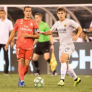 MEADOWLANDS, NEW JERSEY- August 7: Ante Coric #19 of AS Roma and Lucas Vázquez #17 of Real Madrid in action during the Real Madrid vs AS Roma International Champions Cup match at MetLife Stadium on August 7, 2018 in Meadowlands, New Jersey. (Photo by Tim Clayton/Corbis via Getty Images)