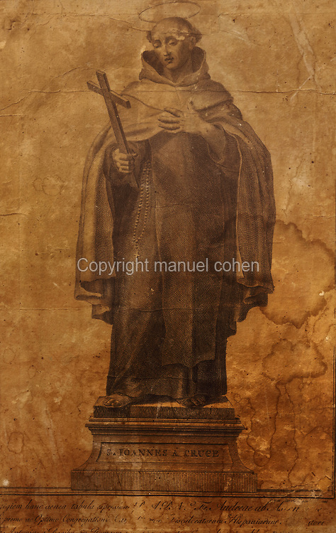 Engraving of San Juan de la Cruz or St John of the Cross, 18th century, by an unknown artist, from the collection of the Carmelitas Descalzos or Order of the Discalced Carmelites, in the Museum of St John of the Cross, or the Museo Conventual y Oratorio de San Juan de la Cruz, Ubeda, Jaen, Andalusia, Spain. St John of the Cross, 1542-91, was a Spanish mystic, Roman Catholic saint, Carmelite friar and priest and one of the Doctors of the Church. Picture by Manuel Cohen
