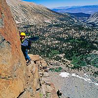MOUNTAINEERING. Sierra Nevada, California. Ben Wiltsie climbs Mount Robinson in Big Pine Canyon.