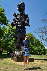 """© Licensed to London News Pictures. 05/07/2017. London, UK. """"Vulcan"""", 1999, by Eduardo Paolozzi. The Frieze Sculpture festival opens to the public in Regent's Park.  Featuring outdoor works by leading artists from around the world the sculptures are on display from 5 July to 8 October 2017.  Photo credit : Stephen Chung/LNP"""