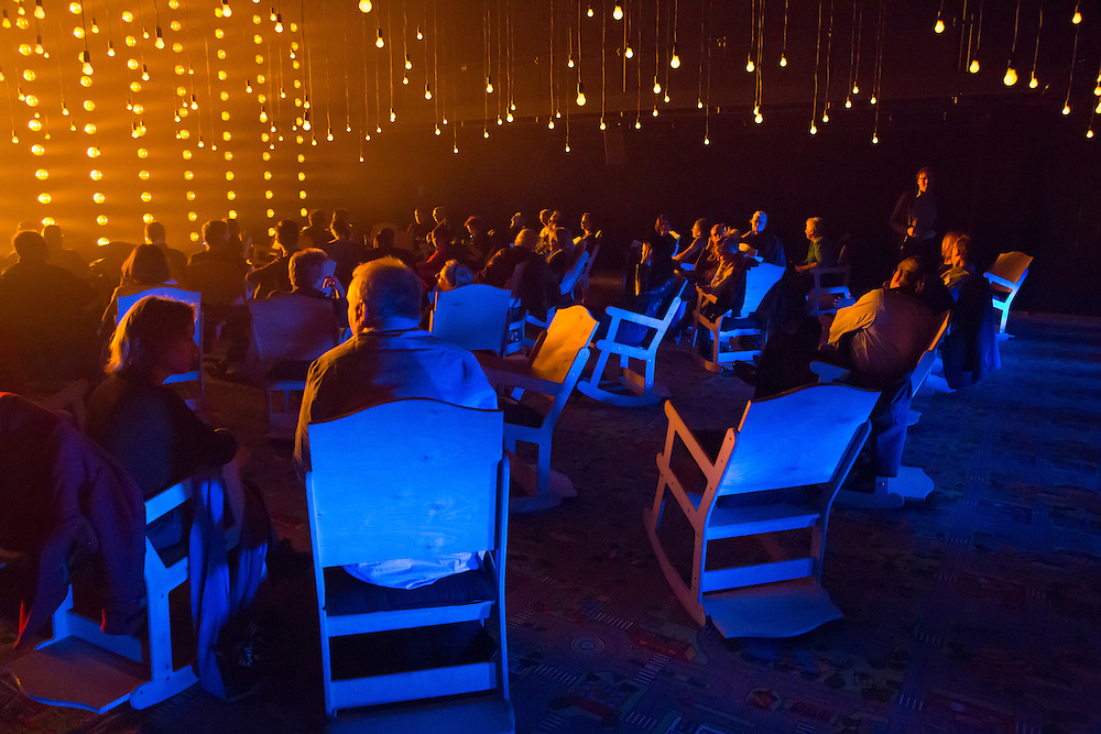 """The audience before the start of Samuel Beckett's """"All That Fall"""" in the Fishman Space at the Brooklyn Academy of Music. The design was by Aedin Cosgrove."""