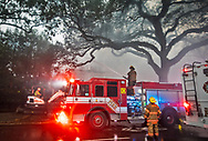Mansion on St. Charles Avenue in New Orleans on fire. The fire destroyed the home.