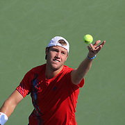 Jack Sock, USA, in action against Nicolas Almagro, Spain, during the US Open Tennis Tournament, Flushing, New York. USA. 1st September 2012. Photo Tim Clayton