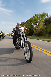 Jeffrey Gillis riding his Harley-Davidson Panhead chopper on a ride to Cape Canaveral during Daytona Beach Bike Week, FL. USA. Monday, March 11, 2019. Photography ©2019 Michael Lichter.