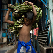 A boy carries  bananas to one of the many small shops inside Dharavi.