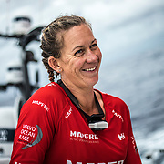Leg 6 to Auckland, day 12 on board MAPFRE, Sophie Ciszek happy after see Dongfeng again at the horizon, just a 6 miles in front. 18 February, 2018.