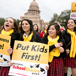 Students educators and policy makers rally for school choice at the Texas Capitol on Friday advocating a proposed voucher plan where parents could choose to remove children from low-performing schools into charter schools or private campuses.<br /> <br /> Photojournalism Sample Photography -- Daemmrich