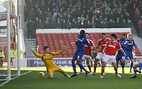 Birmingham City's David Cotterill (Not Pictured) scores his sides first goal  <br /> <br /> Photographer Jack Phillips/CameraSport<br /> <br /> Football - The Football League Sky Bet Championship - Nottingham Forest v Birmingham City - Saturday 28th December - The City Ground - Nottingham<br /> <br /> © CameraSport - 43 Linden Ave. Countesthorpe. Leicester. England. LE8 5PG - Tel: +44 (0) 116 277 4147 - admin@camerasport.com - www.camerasport.com