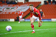 Cauley Woodrow of Barnsley (9) chases the ball down during the EFL Sky Bet League 1 match between Barnsley and Sunderland at Oakwell, Barnsley, England on 12 March 2019.
