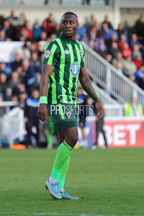 Ade Azeez forward for AFC Wimbledon (14) during the Sky Bet League 2 match between Hartlepool United and AFC Wimbledon at Victoria Park, Hartlepool, England on 25 March 2016. Photo by Stuart Butcher.