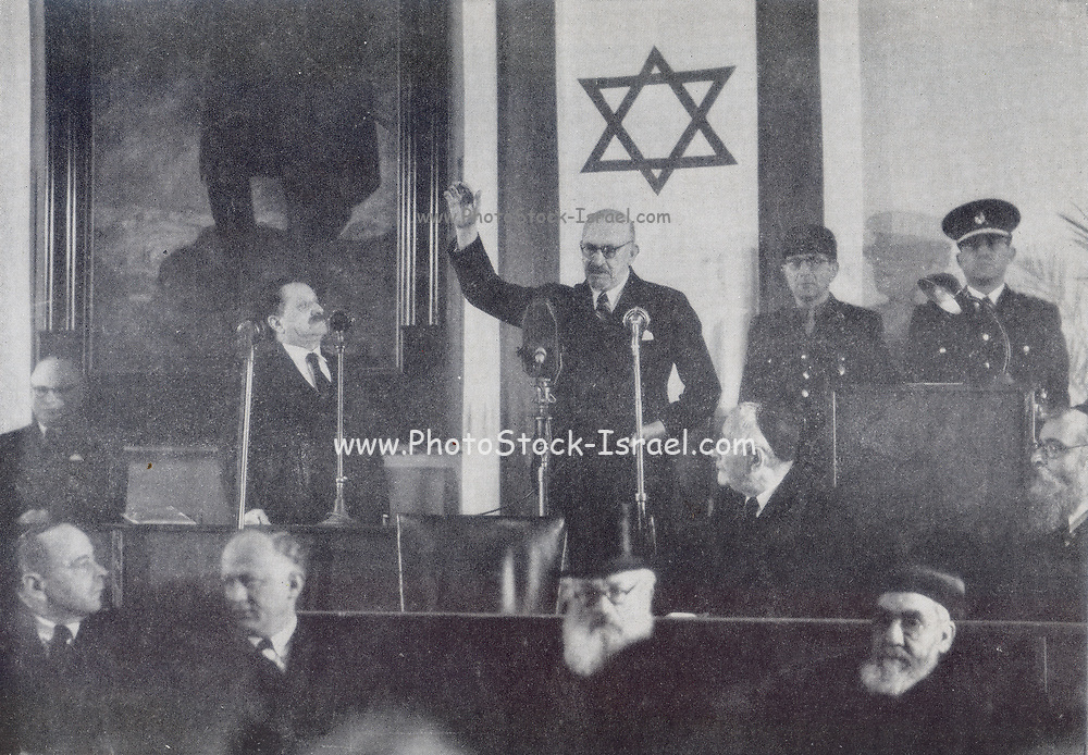 Dr. Chaim Weizmann Taking Oath of Office. Chaim Azriel Weizmann (27 November 1874 – 9 November 1952) was a Zionist leader and Israeli statesman who served as president of the Zionist Organization and later as the first president of Israel. He was elected on 16 February 1949, and served until his death in 1952.