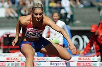 Friidrett<br /> 20. juni 2010<br /> Fana Stadion , Bergen , Norway<br /> European team championships<br /> 100 M hurdles<br /> Christina Vucicevic , NOR<br /> Foto : Astrid M. Nordhaug