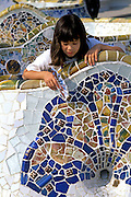 SPAIN, BARCELONA, GAUDI Parc Guell tile serpentine benches