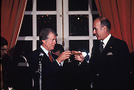 President Jimmy Carter and French President Giscard d'Estang toast at a dinner at Versaille, January 5, 1978<br /> Photo by Dennis Brack