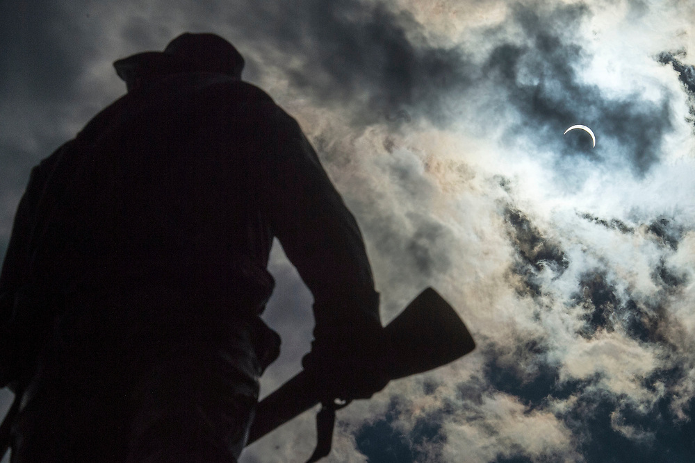 LYNCHBURG, VA - AUG 21: The solar eclipse, as seen from the Confederate Statue at Monument Terrace downtown, pictured on Monday, Aug. 21, 2017 in Lynchburg, Va.  (Photo by Jay Westcott/The News & Advance)
