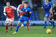 Rory Holden brings the ball forward  during the EFL Sky Bet League 1 match between Rochdale and Fleetwood Town at Spotland, Rochdale, England on 19 January 2019.